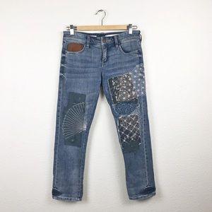 Pilcro Hyphen Embroidered Patch Boyfriend Jeans